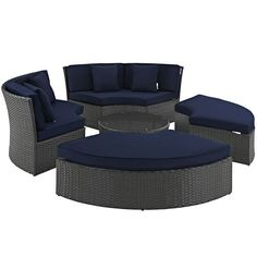 Sojourn Outdoor Patio Sunbrella(R) Daybed, Canvas Navy - Outfit your patio with an imaginative outdoor sectional series of exceptional quality. The Sojourn series offers a robust seating experience that easily rearranges according to usage. Outfitted with industry-leading Sunbrella(R) fabric cushions, synthetic rattan weave, UV protection, powder-coated aluminum frame, immensely enjoy your outdoor time with a series that enhances patio, backyard or poolside areas. This installment of the…