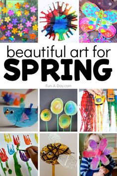 A huge collection of amazing spring art projects for kids to try! Includes ideas for rainbows, insects and birds, Easter, flowers, and super colorful spring art. These spring art projects will be a great addition to any spring lesson plans you're writing. Craft Activities For Toddlers, Preschool Art Activities, Kindergarten Art Projects, Creative Activities For Kids, Spring Activities, Preschool Curriculum, Motor Activities, Creative Crafts, Homeschooling