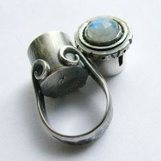 Poison Ring - Rainbow Moonstone Ring - Metalsmithed Artisan Jewelry Secret Compartment Size 6  Treasure Box Ring SS Ring
