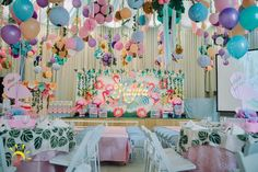 Kayla's Pink Flamingo Themed Party – Stage 7th Birthday Party For Girls Themes, Birthday Party Decorations, Birthday Ideas, Stage Decorations, Pink Flamingo Party, Flamingo Birthday, Debut Themes, Debut Ideas, Birthday Backdrop
