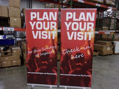Impact Church in Wilmington, NC made these retractable banners to help guests have a great first visit! Church Interior Design, Retractable Banner, Portable Display, Banner Stands, Church Banners, Wilmington Nc, Artwork Design, Kiosk, Service Design