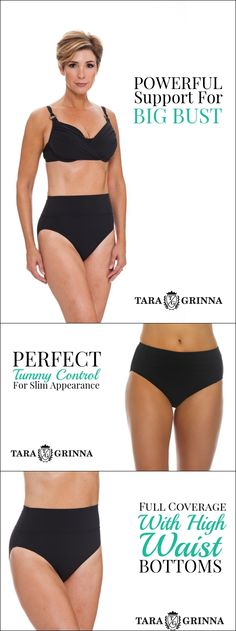 ★★★★★Great Fit If you are looking for a bottom that is flattering and provides tummy control, this is the bottom for you. It is very attractive and provides the coverage you want. The fabric is very forgiving and high quality. Black Underwire Cup Sized Top $92.00 Black Mid-Rise Pant FT-209 $69.00 Black High-Rise Pant $74.00 Shop now at http://store.taragrinna-swimwear.com/bestselling/