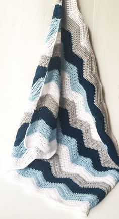 Boutique Creations — Baby Boy Grey, Blues and White Crochet Blanket