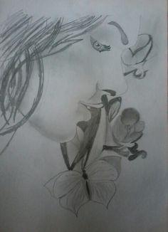 #Sketch #beauty #flower #butterfly #bykishan #indian #angel #pretty #drawing #shading #smelling #women #