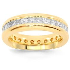 This elegant womens eternity band is handcrafted in lustrous 14K yellow gold. Brilliant princess cut diamonds are channel set all the way around the band and total to 2.50 carats. The frame measures to 3/16 inches in width and weighs approximately 7.3 grams. $3,025.00