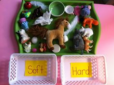 sorting objects by attributes- hard vs. soft. Children can learn these descriptive terms through manipulating these toys (learning= play= fun)