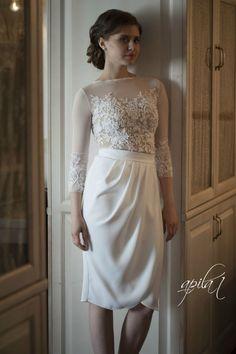 Short Wedding Dress White and Nude Wedding by ApilatCreativeAtelie