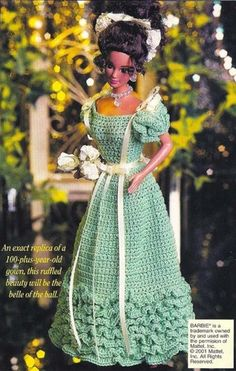 X745 Crochet PATTERN ONLY 1893 Young Lady's Evening Gown Fashion Doll   BeadedBundles - Instructional on ArtFire