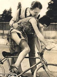 "shewhoworshipscarlin:  ""Learning to Bike,"" 1920s."