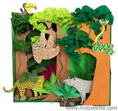 FREE Rainforest Habitat Diorama: Learn all about tropical rainforests and the animals that live in this habitat by making this fun shoebox diorama. Rainforest Crafts, Rainforest Activities, Rainforest Project, Jungle Crafts, Rainforest Habitat, Jungle Art, Rainforest Animals, Art Activities, Rainforest Ecosystem