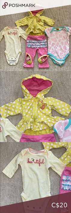 Carter's Bee-utiful outfit Carter's and Chicka Chicka outfits. Chicka Chicka, Bee, Kids Shop, Yellow, Children, Pink, Closet, Outfits, Things To Sell