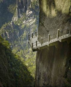 Another means of moving around your metaphorical landscape - cliffside steps - Hunan, China Oh The Places You'll Go, Places To Travel, Beautiful World, Beautiful Places, Beautiful Scenery, Stairway To Heaven, Photos Of The Week, Brunei, Wonders Of The World