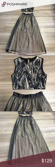 Bebe Two Piece Sequin Crop Top Tulle Maxi Skirt XS black and nude sequin crop top. Size 0 Tulle layered skirt. EUC. bebe Dresses Prom