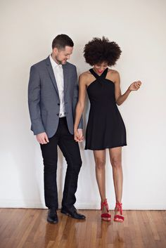 valentine's day fiesta » STYLE ME GRASIE // LBD little black dress with super cute red heels. My husband in a blazer and jeans all from @expresslife // #valentinesday #couple #blogger #LBD