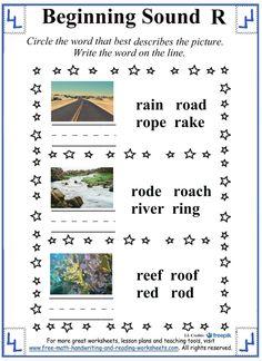beginning sound letter r worksheets