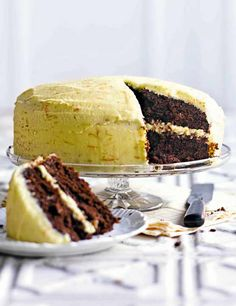Devil's food cake with orange frostingThis version of devil's food cake is made with oil rather than butter, and has orange added to the flavour. It's a cake that cuts neatly and works well as a base for all sorts of icing.