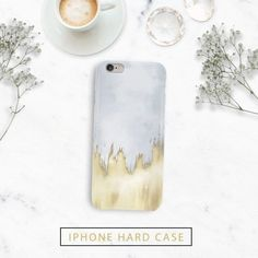 Brushed Gold Watercolor Case for Iphone - Iphone 7, 7 plus, 6, 6s, 6s plus, 6 plus, 5, 5s, 5c
