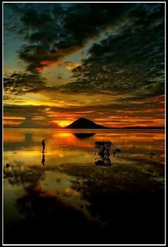Serene Sunset Reflection Pictures, Look At The Sky, Serenity, Natural Beauty, Northern Lights, Sunrise, Scenery, Nature, Photography