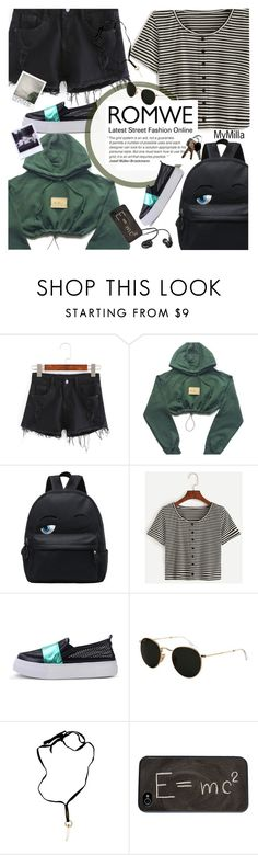 """""""ROMWE: Denim Shorts + Striped T-Shirt"""" by mymilla ❤ liked on Polyvore featuring Ray-Ban, Yves Saint Laurent, Theory, denim, romwe, striped and polyvorefashion"""