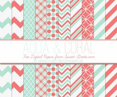 Just Peachy Designs: Free Aqua and Coral Digital Paper Set