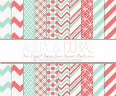 Just Peachy Designs: Free Aqua and Coral Digital Paper Set