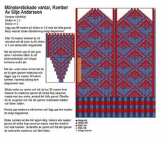 Mönsterstickade vantar, romber (in Swedish with chart) Knitted Mittens Pattern, Knit Mittens, Knitted Gloves, Knitting Socks, Hand Knitting, Knitting Charts, Knitting Stitches, Knitting Needles, Knitting Patterns