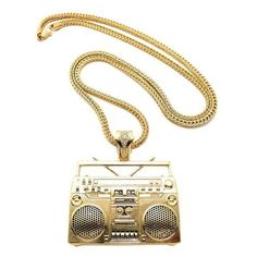 www.hiphopcloset.com - Gold Boom Box Pendant and Chain Hip Hop Jewelry ($20) ❤ liked on Polyvore featuring jewelry, pendants, chains jewelry, gold pendant, charm pendant, gold chain jewelry and gold jewelry