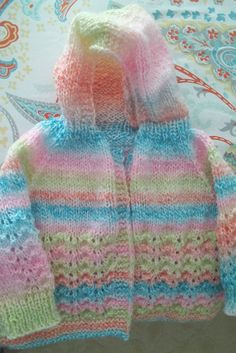 Hand knit striped baby hoodie sweater 6 by BabyknitTreasures