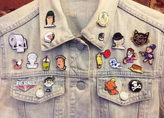 All the pins we made/bought/traded thus far. Still waiting on a few in the mail.  #pingame #pincollection #pincommunity #pin #pins#enamelpin#enamelpins #lapelpin#lapelpins #hatpin#hatpins #denimjacket #gap #patch#patches#patchgame#brk#brkhouse by brk_house
