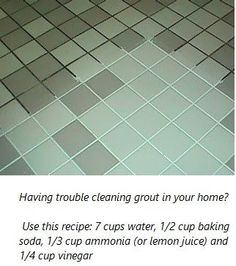 Grout Cleaner:  7 cups water, 1/2 cup baking soda, 1/3 cup lemon juice and 1/4 cup vinegar - throw in a spray bottle and spray your floor, let it sit for a minute or two... then scrub :) Grout Cleaner, Homemade Cleaning Products, Clean House, Cleaning Hacks, Home Improvement, Tile Floor, Find Parts, Homesteading, Life Hacks