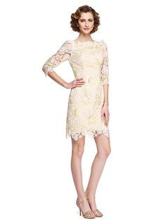 2017 Lanting Bride® Sheath / Column Mother of the Bride Dress - Elegant Knee-length Half Sleeve Lace with Appliques - USD $99.99 ! HOT Product! A hot product at an incredible low price is now on sale! Come check it out along with other items like this. Get great discounts, earn Rewards and much more each time you shop with us!