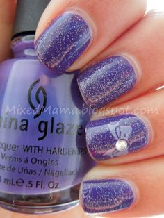 China Glaze Grape Pop and Fairy Dust stamped with Essie's Bangle Jangle and plate M59