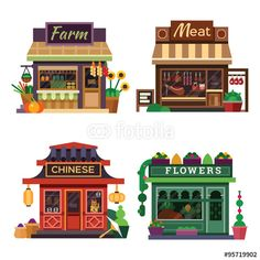 Vector: Set of nice shops. Different Showcases: meat shop, farm products, pizza cafe, chinese shop, flower shop. Flat vector illustration stock set.