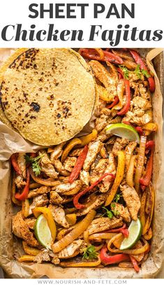 Nothing beats these sheet pan chicken fajitas when you need a simple dinner that makes everyone happy! Tender chicken, flavorful veggies! Easy Family Meals, Family Recipes, Easy Meals, Mexican Food Recipes, Whole Food Recipes, Air Fryer Recipes Vegetarian, Thin Sliced Chicken, Sheet Pan Suppers, Quick Weeknight Meals