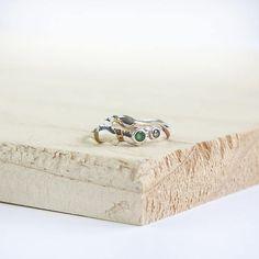 Terra Organic Ring, Sterling Silver, Natural Ring, Pagan Ring, Emerald Ring, Silver Ring, Champagne Diamond Ring, Diamond Ring