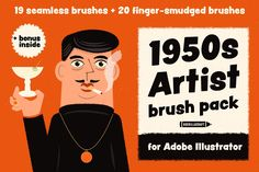 Artist Brush Pack contains 19 seamless pattern based brushes and 20 art brushes for Adobe Illustrator.Inspired by illustration I made these brushes by using ink, old brushes and my fingers. You can use these brushes for v… Snow Texture, Texture Web, Vector Brush, Design Typography, Artist Brush, Artist Art, Magazine Illustration, Expressive Art