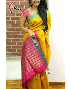 Buy Yellow And Pink Zarana Silk Partywear Saree at happydeal18.com, India's biggest shopping store