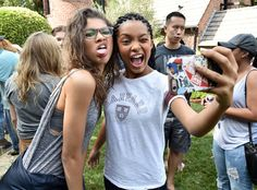 Just Jared Jr.'s Fall Fun Day from Party Pics: Hollywood Cheese! Zendaya and Black-ish star Yara Shahidi snap a silly selfie during the bash celebrating Amazon Prime's Gortimer Gibbon's Life on Normal Street.