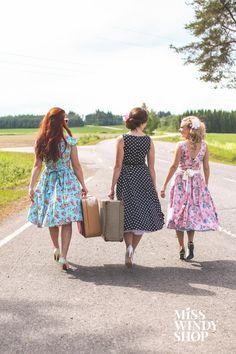 Hit the Road (c) misswindyshop.com #50s #nostalgia #vintage #inspiration #dress #polkadot #floral #dressrevolution #mekkovallankumous