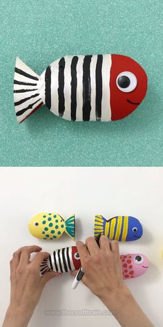 """Paper roll fish Easy paper roll fish craft using a cardboard roll with a """"squash and cut"""" technique. Super fun craft idea for summer adaptable to all age groups. The post Paper roll fish appeared first on Craft Ideas. Fish Crafts Preschool, Ocean Crafts, Animal Crafts For Kids, Summer Crafts For Kids, Paper Crafts For Kids, Craft Activities For Kids, Diy Arts And Crafts, Toddler Crafts, Craft Ideas"""