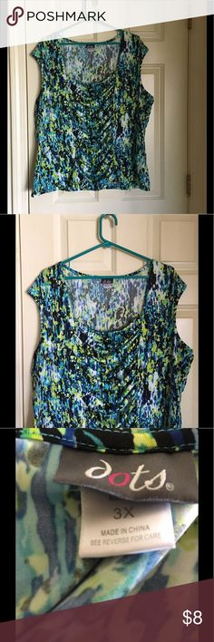 Dots Drape Front Top 3X **4 for $20 SALE** Blue, yellow and green top.  Cap sleeve.  Drape front.  Size 3X. From Dots. Good condition.   Important:   All items are freshly laundered as applicable prior to shipping (new items and shoes excluded).  Not all my items are from pet/smoke free homes.  Price is reduced to reflect this!   Thank you for looking! Dots Tops Blouses