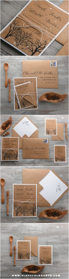 Winter Wedding Invitations - eco kraft paper #rustic #winter #weddinginvitations #handmade #snow