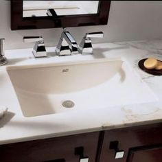 This rectangular Studio Undercounter Sink by American Standard is the perfect addition to your bathroom's ambiance. Constructed of chinaware. The large Studio Undercounter Sink is designed to fit into a bathr Square Bathroom Sink, Undermount Bathroom Sink, Single Sink Bathroom Vanity, Vanity Sink, Bathroom Faucets, Bamboo Bathroom, Zen Bathroom, Square Sink, Bathroom Countertops