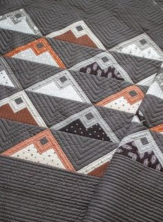 Mountainside quilt pattern by Vanessa Goertzen of Lella Boutique. Mountain blocks are made with fat eighths. Fabric is Smoke & Rust by Lella Boutique for Moda Fabrics shipping April 2021. Perfect quilt for modern or masculine taste.
