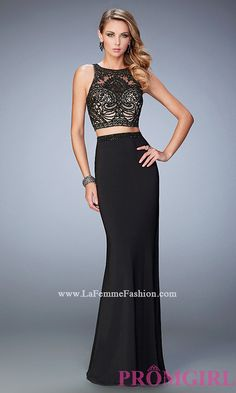 Two Piece Gigi by La Femme Long Prom Dress Style: LF-22581