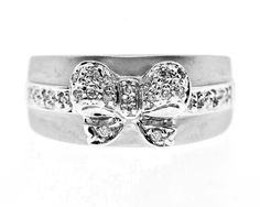 0.15 Cttw Round Cut Diamond Bow Knot Cocktail Ring in 14K White Gold by GetDiamondsDirect on Etsy
