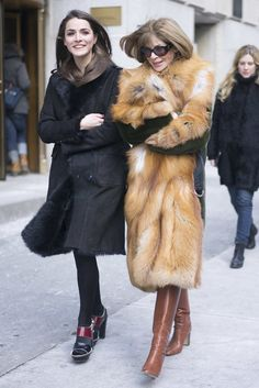 Street Style Friends. Anna Wintour gets furry at New York Fashion Week Fall 2015.