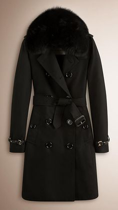 Preto Trench coat de gabardine de algodão acolchoado com plumas e com acabamento de pele - Imagem 1