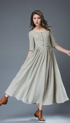 Gray linen dress maxi dress women dress C815 by YL1dress on Etsy