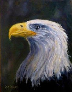 """Eagle Portrait"" Oil on canvas, 9"" x 7"".  An eagle's gaze is sharp and intense.  I enjoyed painting this one in profile with deep darks and bright highlights."